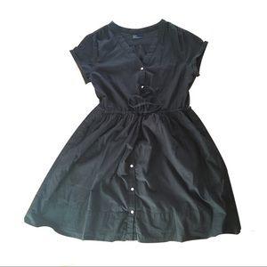 GAP shirt dress drawstring faded black